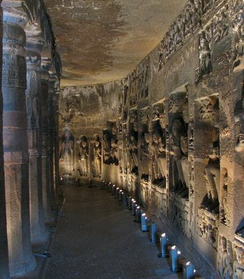 Inside a Cave at Ajanta on an India Tour