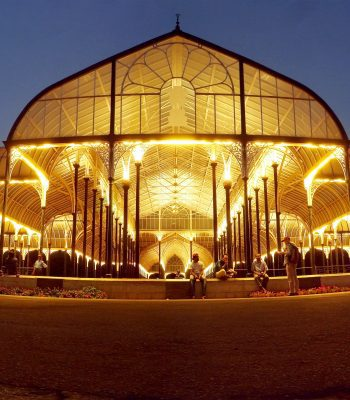 Lalbagh Glasshouse at Night in Indore on a India Tour
