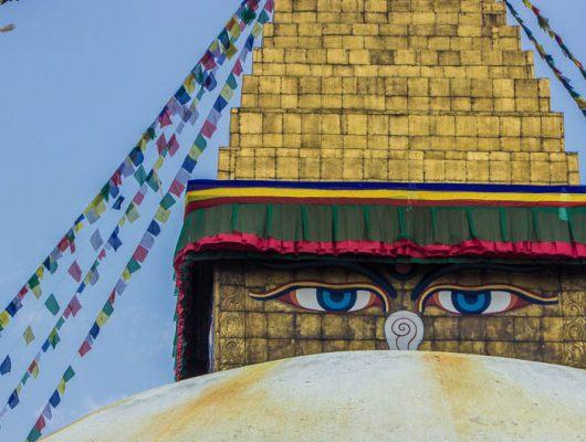 Kathmandu The Eyes of Boudhanath Stupa on a Nepal and India Tour