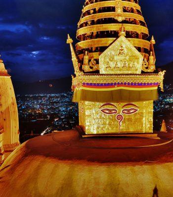 Nepal Kathmandu Swayambhunath Night Swayambhunath on a Nepal and India Tour