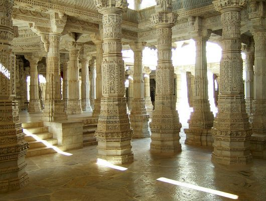 Intricate Columns in Udaipur on an India Tour