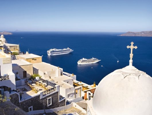 Emerald and Royal Princess in Santorini Greece