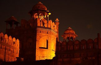 Outside Red Fort During Night Delhi India Tour